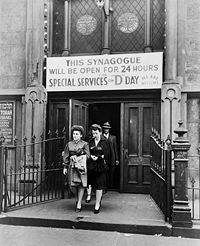 United States home front during World War II - Wikipedia, the free encyclopedia. A synagogue in New York City remained open 24 hours on D-Day (June 6, 1944) for special services and prayer.