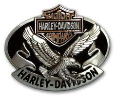 Eagle with Banner and Enamel Background Die Cast HARLEY DAVIDSON Belt Buckle