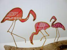 Les flamands roses - figurines en ficelle et papier : Accessoires de maison par ficelleetpapier