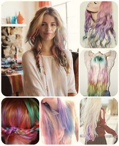 7 Celebrities with Rainbow Hair and How to  Dye fashion rainbow colored ombre hair styles 2013