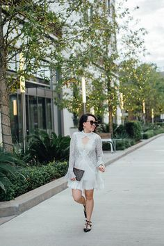 white dress and flats