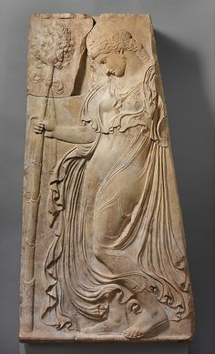 Marble relief with a dancing maenad...Adaptation of work attributed to Kallimachos... Period: Early Imperial, Augustan Date: ca. 27 B.C.–A.D. 14----- Maenads were mythical women inspired by the god of wine, Dionysos, to abandon their homes and families and roam the mountains and forests, singing and dancing in a state of ecstatic frenzy.