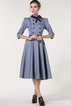 Blue Lapel Vintage Bow Buttons Dress 24.17