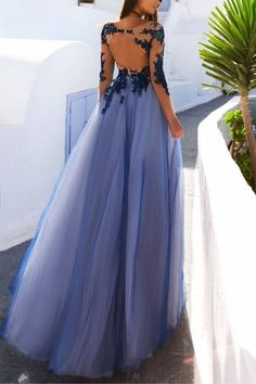 Sexy See Through Blue Lace Long Sleeve Custom Long Evening Prom Dresses, 17482 The LongEvening Prom Dressesarefully lined, 8bones in the bodice, chest pad i
