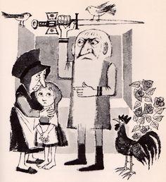 ¤ The Tale of Gockel, Hinkel & Gackeliah by Clemens Brentano, illustrated by Maurice Sendak, translated from the German by Doris Orgel (1961).
