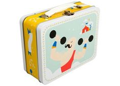 leuke lunchbox met handvat in circus thema - strong man