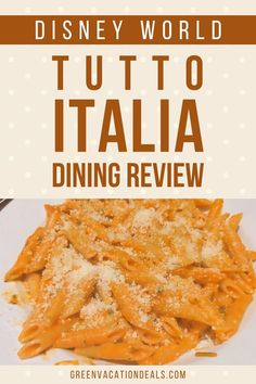 Our family recently had dinner at Tutto Italia Ristorante at Epcot during a Disney World vacation. This is a fantastic Italian restaurant in the World Showcase (the Italy pavilion). Find out about our experiences in this dining review. Get tips on how to make an advance dining reservation for it. See photos of the decor and atmosphere. And, of course, find out what we thought of the menu & our pasta dishes! Read this before your next Orlando Florida trip. Walt Disney World Vacations, Disney Resorts, Disney World With Toddlers, Penne Alla Vodka, Disney World Planning, Disney World Tips And Tricks, Orlando Florida, Epcot, Pasta Dishes