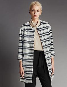 Striped Faux Leather Trim Overcoat