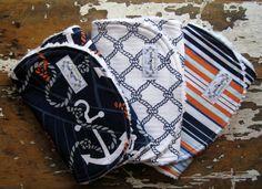 Baby Boy Burp Cloths - Set of 3 - Anchors Away - Anchors, Navy Sailboats and Nautical Stripes on Etsy, $25.50