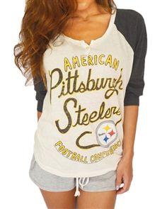 Love the vintage look of this Pittsburgh Steelers raglan