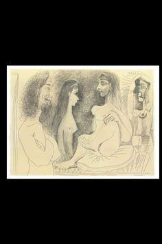"""Pablo Picasso """"Trois femmes nues et buste d'homme - 18.01.1969"""", 1969 - Pencil on paper - 58,6 x 79,6 cm"""