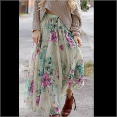 SALE Long flowy floral skirt. This is an elegant, long, full and flowy, floral chiffon skirt, perfect for the Spring/Summer. Brand new, never worn. Does not come w/tags. Can fit an XS/S. Skirts A-Line or Full