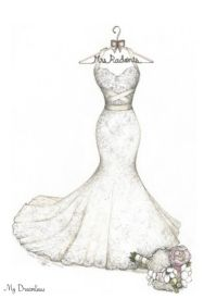 Wedding Dress Sketches.  Perfect one year anniversary gift, wedding day gift from the groom to the bride, bridal shower gift, sister of the bride gift, Maid of Honor gift to the bride and wedding party gift to the bride.  Click here to see more wedding dress sketch ideas.  http://www.mydreamlines.com/how-it-works/photo-gallery/  #weddingdressketch #oneyearanniversarygift #paperanniversarygift #weddingdaygift #bridalshowergift