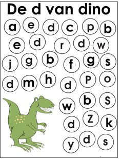 Werkblad geletterdheid: dino's Dinosaurs Preschool, Dinosaur Activities, Preschool Worksheets, Preschool Activities, All About Me Activities For Toddlers, Abc For Kids, Dinosaur Illustration, Letter D, Kids Songs