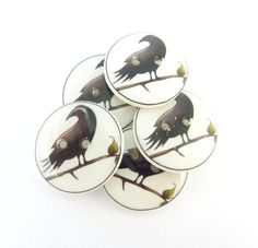 """5 Primitive Crow Buttons.  3/4"""" or 20 mm round.  Handmade Prim Crow  Buttons. Novelty Buttons.  Craft Buttons. by TimesNotForgotten on Etsy"""