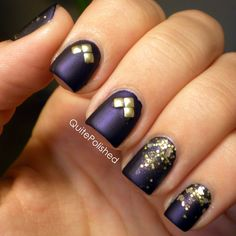This is essentially all of my favorite nail polish related things rolled into one mani. It has a glitter gradient, studs, a matte finish and OPI Russian Navy! Russian Navy holds a special place in my heart because it was my first non-drugstore polish. :) The gold glitter is Serum No. 5 Girls Gotta Eat, and the matte top coat I used is Essie Matte About You. The studs are from the BornPrettyStore and if anyone has been thinking about buying anything from them you can use the coupon codeUGJ61…