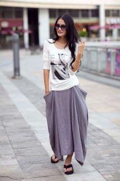 Lagenlook Maxi Skirt in Orange Two Big Pockets Elastic Waist Skirt ...
