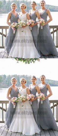 Cheap V Neck Chiffon Custom Long Bridesmaid Dresses, Navy Blue Bridesmaids, Bridesmaid Dresses 2018, Wedding Dresses, Dream Wedding, Wedding Stuff, Wedding Ideas, Dream Dress, Dress Making, Chiffon
