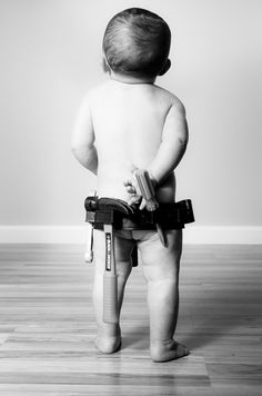 Love this, except, I'd have a diaper and blue jeans on the little man!