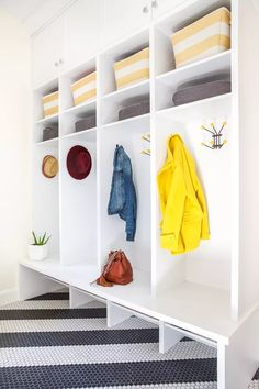21 Mudroom Storage and Organization Ideas Small Storage, Storage Spaces, Ikea Ivar Cabinet, Built In Lockers, Ceiling Shelves, Vintage Stool, Organization Ideas, Storage Ideas, Neat And Tidy