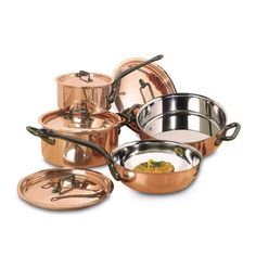 """Matfer Copper Pots and Lids Set of 8 Pots $2,313.00 AUD Made of copper with stainless steel lining Cast iron handles Copper Set Includes: Casserole 9 1/2'' 5 3/4 qts. 367024 Copper lid 9 1/2"""" 365024 Copper sauce pan 7 1/8"""" 2 5/8 qts. 360018 Copper lid 7 1/8"""" 365018 Copper flared sauté pan 9 1/2"""" 2 3/4 qts. 373024 Copper lid 9 1/2"""" 365024 Copper Brazier 11"""" 5 1/4 qts. 374028 Copper lid 11"""" 365028 Please note: there is a 20 restocking fee for returned pots"""
