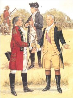 Saratoga(October 1777) ; L to R Sir John Burgoyne, Benedict Arnold & Horatio Gates