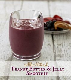 All the flavors you love from the classic PB& J  (sans the bread!) are combined in this Peanut Butter and Jelly Smoothie (all  natural). So yummy! | Recipe at MealPlanningMagic.com
