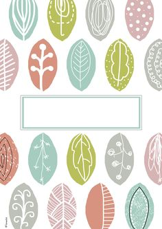 leaves cover page Cute Binder Covers, School Binder Covers, Binder Cover Templates, Notes Template, Stencil Templates, Notebook Cover Design, Notebook Covers, Good Notes, Note Paper