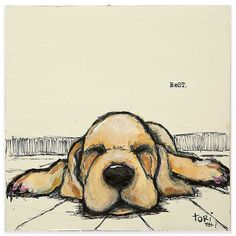 Featuring a charming look at man's best friend asleep on the floor, the Marmont Hill Rest Canvas Wall Art will bring color and delight to any décor. This fine canvas print is professionally hand stretched, gallery wrapped, and arrives ready to hang. Cool Art Drawings, Art Drawings Sketches, Easy Drawings, Sketch Drawing, Easy Animal Drawings, Drawing Ideas, Pretty Drawings, Drawing Animals, Sketching