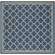 Safavieh Moroccan Indoor/Outdoor Courtyard Navy/Beige Rug (6'7 Square)