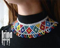 Traditional Ukrainian Gerdan to vyshyvanka Ukrainian jewelry Ukrainian necklace Seed bead necklace White beaded necklace Tribal jewelry Boho Seed Bead Necklace, Tribal Necklace, Tribal Jewelry, Beaded Earrings, Boho Jewelry, Seed Beads, Beaded Jewelry, Crochet Necklace, Textile Jewelry