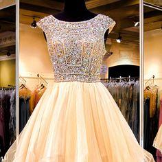 Princess beaded bodice open back homecoming dress,short prom dress,xh54