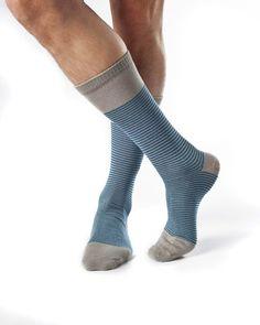 Harrison- Mid Calf Socks Heather Grey Aqua by Zkano - $10.00  It's made in the USA