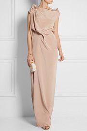 Silvabella draped silk-satin gown