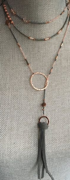 Beaded Lariat Necklace Rosa 50-52""