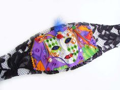 MASQUERADE CUFF Bracelet, Marie Antoinette Inspired Wrist Wrap, Colorful Purple Orange Green, Black lace