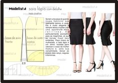 pencil skirt with rear kick flounce - very pretty - drafting instructions Diy Clothing, Sewing Clothes, Clothing Patterns, Sewing Patterns, Techniques Couture, Sewing Techniques, Fashion Sewing, Diy Fashion, Modelista