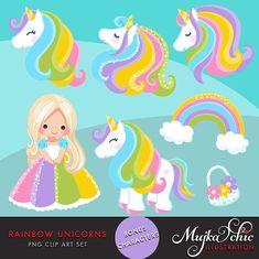 Unicorn Clipart Rainbow unicorns and little girls. Summer
