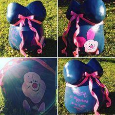 Babybauch Gipsabdruck in blau, Malerei und rosa Schleife Lunch Box, Pink, Blue Painting, Ribbon Work, Bento Box