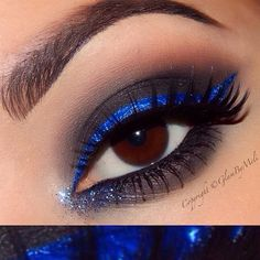  close up some of use ask how it would look without the circle contacts !! ;) >>>>@anastasiabeverlyhills dip brow (darkbrown)~ @nyxcosmetics electric blue liquid liner~ @urbandecaycosmetics (black out) ~ @motivescosmetics (smokey) beauty weapon palette