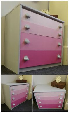 Shades of pink chest of drawers £115 (If you would like to buy this item call the sales office on 01903 753377 or visit our showroom www.thergf.co.uk) The RGF Restoration Team is the South East's leading furniture up-cycling company. Our skills include upholstery, restoration, and paint effect including shabby chic, farmhouse distress and French provincial.