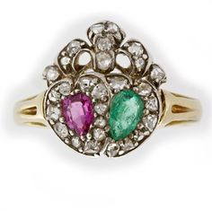 A late Victorian emerald, ruby and diamond twin heart ring - Bentley & Skinner £5,250.00