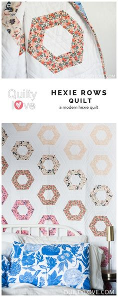 Hexie Rows quilt pattern by Emily of quiltylove.com. Modern hexagon quilt pattern. Baby, throw and queen quilt sizes.