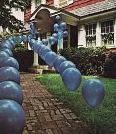 Genius Party Idea! Use golf tees to anchor balloons in the ground. Line a walkway or driveway for a party. Grad party or birthday or any party!