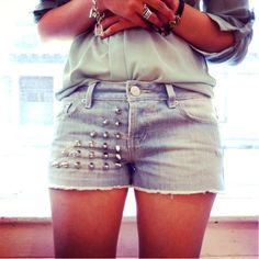 One of the Snapette team's DIY studded shorts! #snapette
