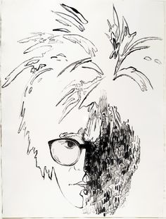 Andy Warhol, Self Portrait Paul Kasmin collection. Courtesy the Andy Warhol Foundation for the Visual Arts, Inc./Licensed by Artists Rights Society (ARS). Andy Warhol Drawings, Andy Warhol Art, Easy Drawings, Classic Artwork, Vintage Artwork, Character Art, Character Design, Drawing Heads, Portrait Sketches