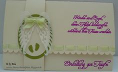 Einladungskarte zur Taufe - geschnitten und geschrieben mit der Cameo I Card, Invitation Cards, Invitations