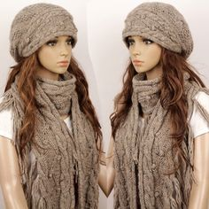 """Size:  Hat: 20""""-23"""" head circumference, one size fit all.  Scarf: 65 inch by 6 inch  Made in a clean and smoke-free family  Hand wash in cold water, lay flat to dry."""