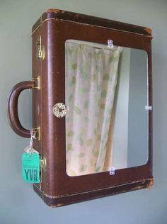 vintage luggage turned medicine caninet!