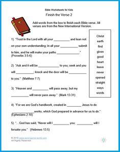 Bible Worksheets for Kids. 20 Bible Worksheets for Kids. Bible Verses For Kids, Free Bible Study, Bible Study For Kids, Bible Lessons For Kids, Scripture Verses, Kids Bible, School Worksheets, Worksheets For Kids, School